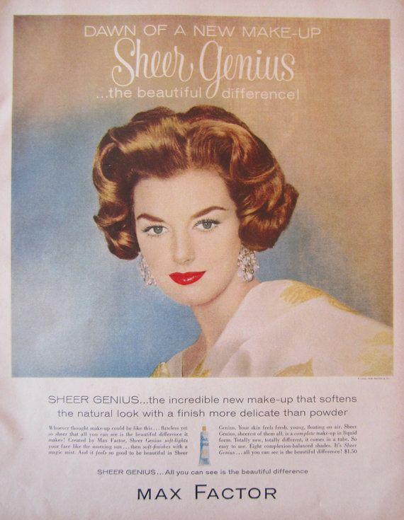 1960 맥스 팩터 깎아 지른 천재 최대 빈티지 광고 욕실 벽 예술 ...