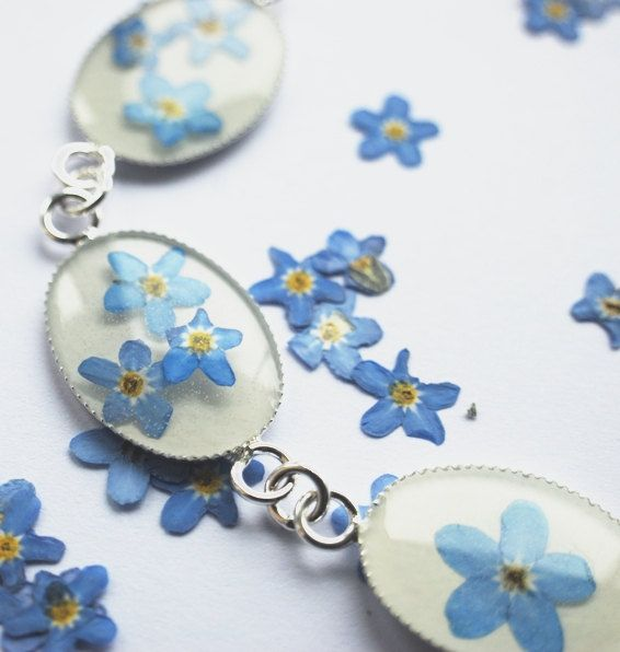 Real Forget Me Not Bracelet  Flower Jewelry Mother's Day Resin Jewelry Blue White Spring Pressed Flowers Tiny Dainty. $28.00, via Etsy.