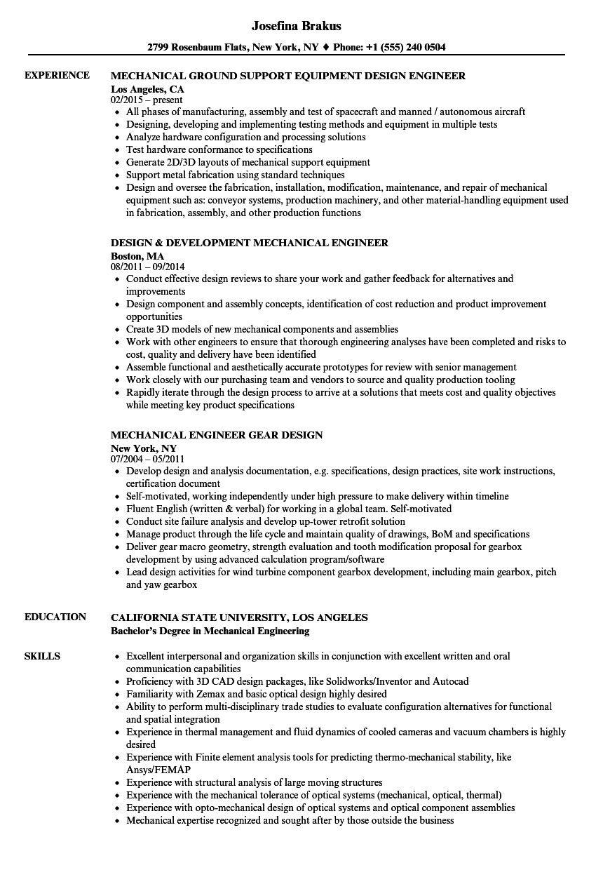 mechanical engineer design resume sample Luxus Mechanical