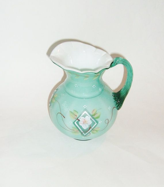 Fenton 75th Anniversary Hand Painted Pitcher