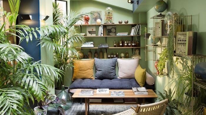 Idée Pour Une Deco Ethnique Dans Un Petit Salon Aux Murs Verts Avec Plantes  Vertes,