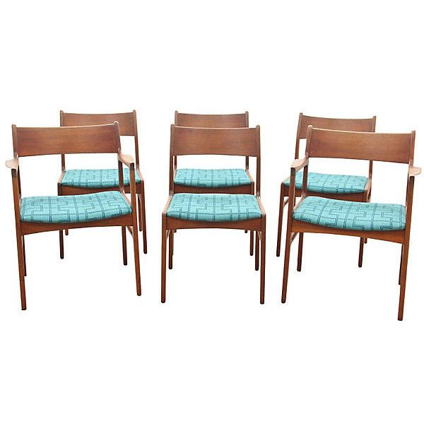 Pre Owned S 6 Funder Schmidt Odense Chairs 2 385 Liked On Polyvore Featuring Home Furniture Chairs Dining Chairs Teal F Teal Furniture Teak Dining Chairs Dining Chairs