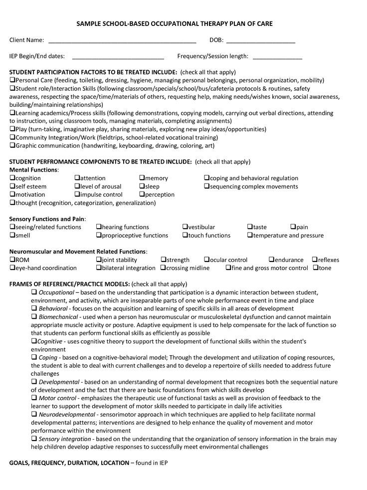 Therapy Treatment Plan Template  Therapy Handouts  Activites