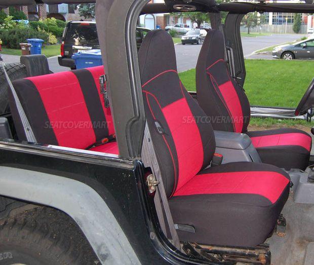 Neoprene Car Seat Cover Full Front Rear Black Red For Tj 1997 2002 Jeep Wrangler 2002 Jeep Wrangler Jeep Wrangler Waterproof Seat Covers