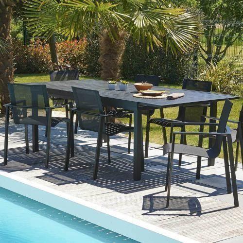DCB GARDEN Table Miami en aluminium avec rallonge ...