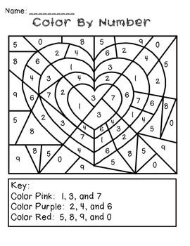 Valentine S Day Color By Number Freebie Kindergarten Valentines Holiday Math Holiday Math Centers