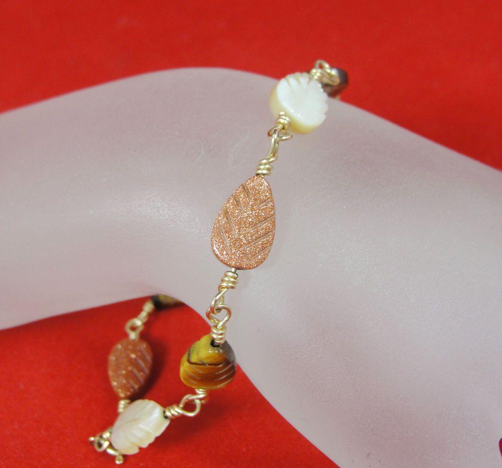 """Vintage Bracelet 14KT Gold GF Tiger's Eye MOP Copper Sparkle Carved Leaves 8.5"""" #Unbranded #Chain"""