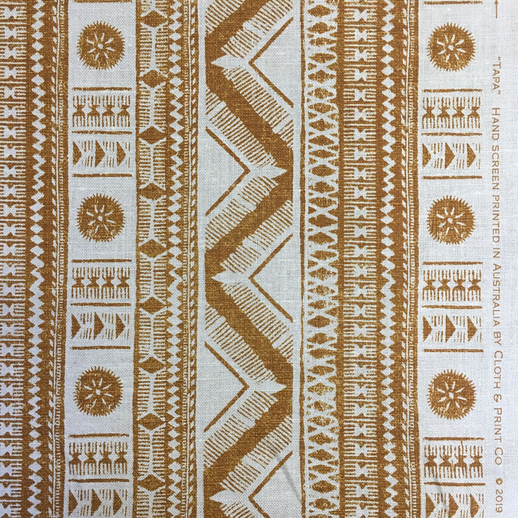 The true Pacific aesthetic can we seen in our TAPA design, 5 great tropical colours including Yam shown.   #clothandprintco #clothandprint #printedlinen #handsceenprinted #screenprinted #textiles #upholsteryfabric #linenlove #linenlovers #interiordesignaustralia #ecofabrics #australianmade #tapa #yam #pacifica #pacifika #tapacloth #coloursoftheearth