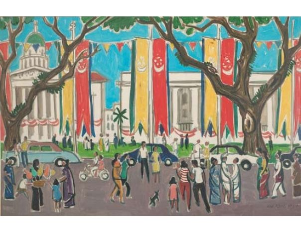 National Day; Artist: Liu Kang; Year: 1967; Country: Singapore; Medium: oil on canvas; Dimensions: 84 x 126 cm