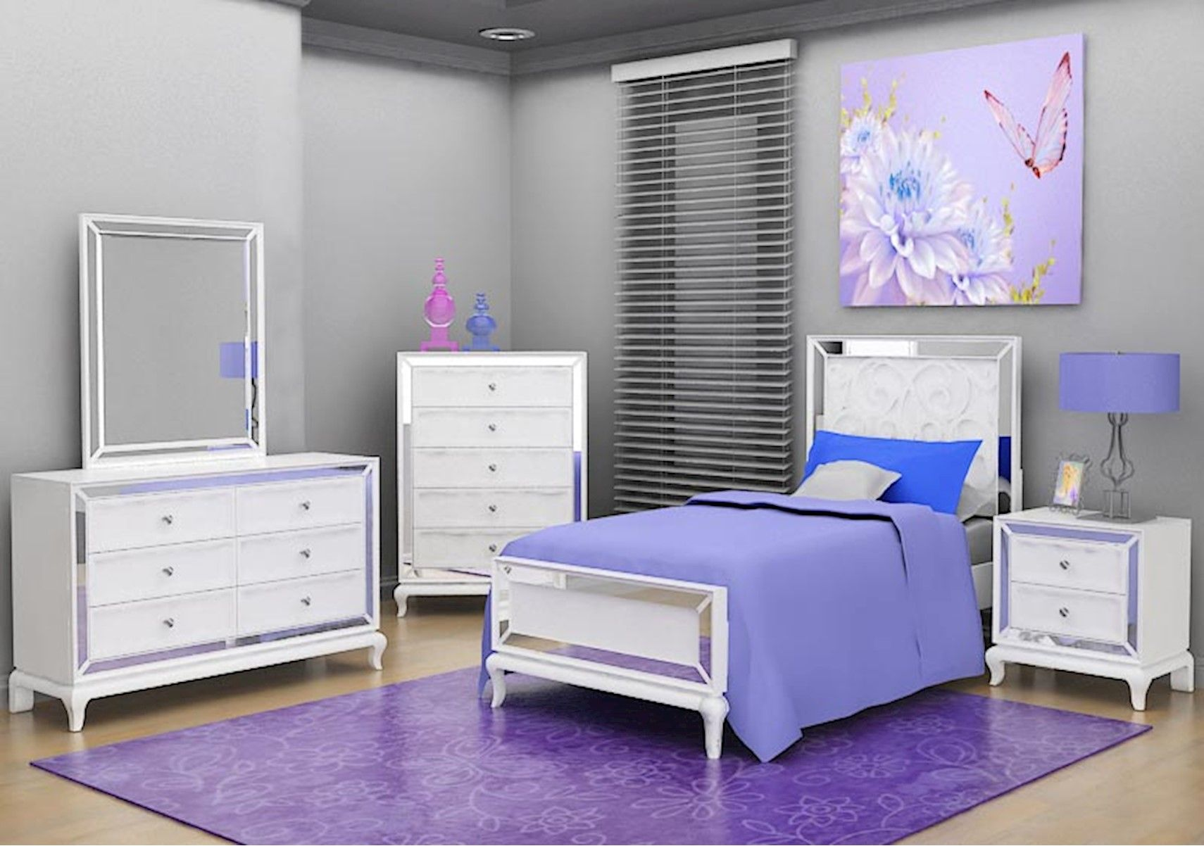 Lacks Uptown 4 Pc Twin Kids Bedroom Set In White Kids Bedroom