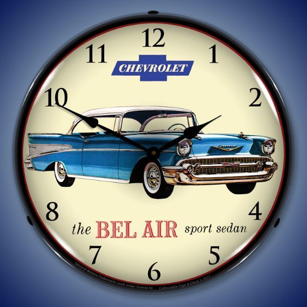 1957 Chevrolet Bel Air Led Lighted Wall Clock 14 X 14 Inches Chevrolet Bel Air 1957 Chevrolet Wall Clock Light