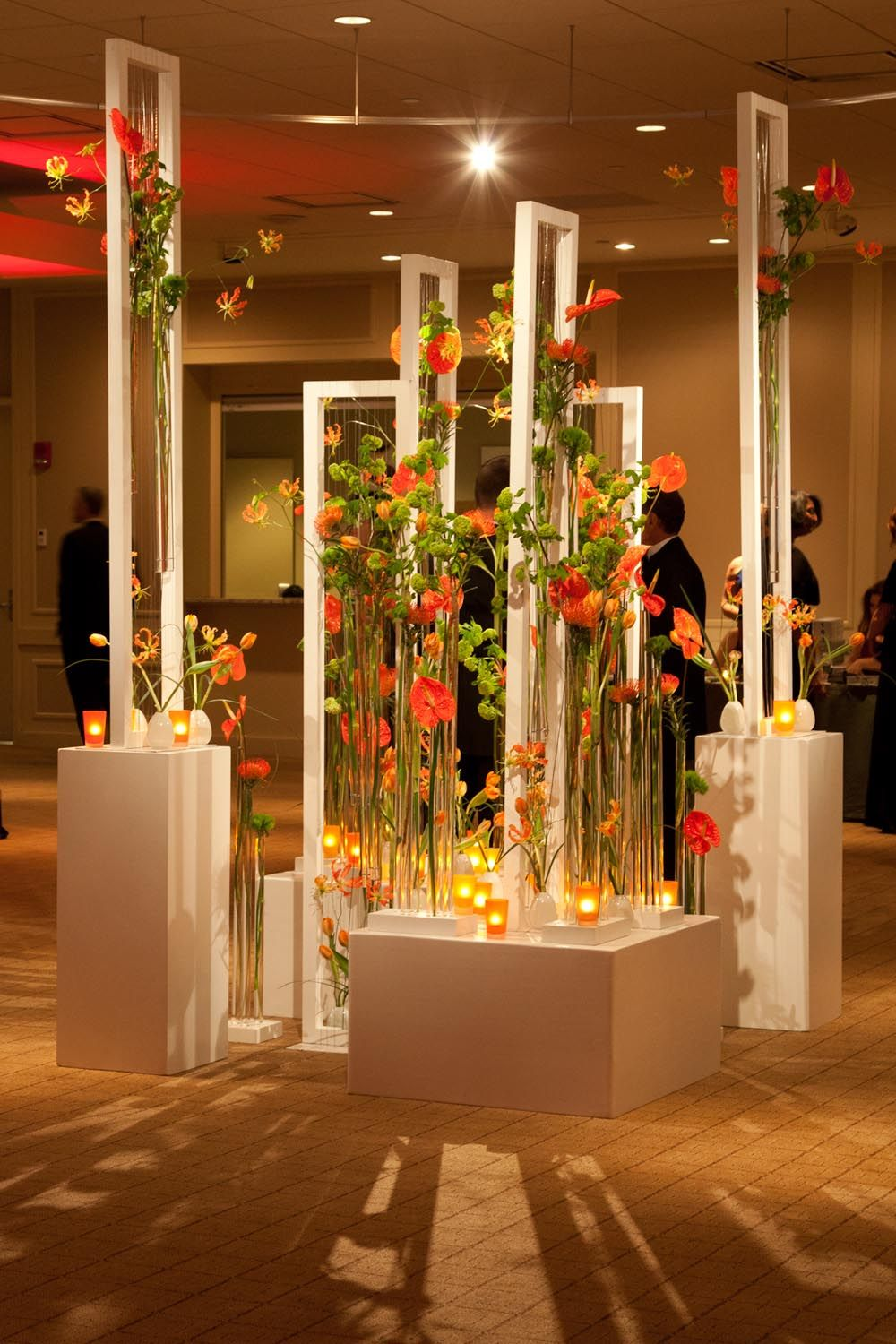 flower decor entrance decoration event decorations flowers corporate floral deco walkway weddings creative events grand party centerpiece winston room stage
