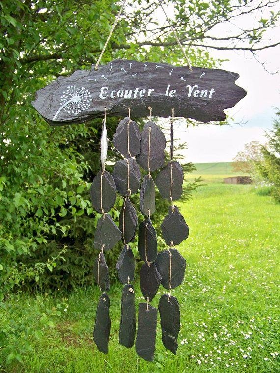 Carillon De Jardin En Ardoise Carillon A Vent Mobile De Jardin Attrape Vent Decoration De Jardin Decoration Terrasse Creation Troglodyte Decoration Jardin Amenagement Jardin Recup Jardin Recup