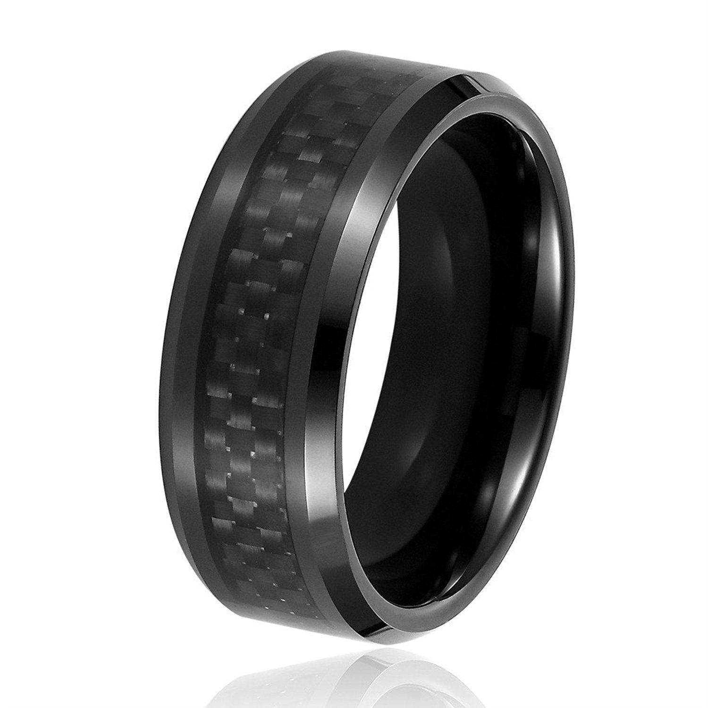 Tungsten Wedding Bands, Will Queen 8mm Beveled Black