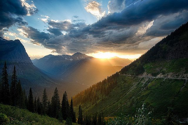 Sunset Near Logan Pass, through the tunnel on Going to the Sun Road by Ron Bernstein, via Flickr