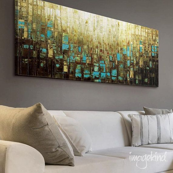 Canvas PRINT Wall Decor Large Abstract Wall Art Blue Brown Mid Century  Modern Art   Small
