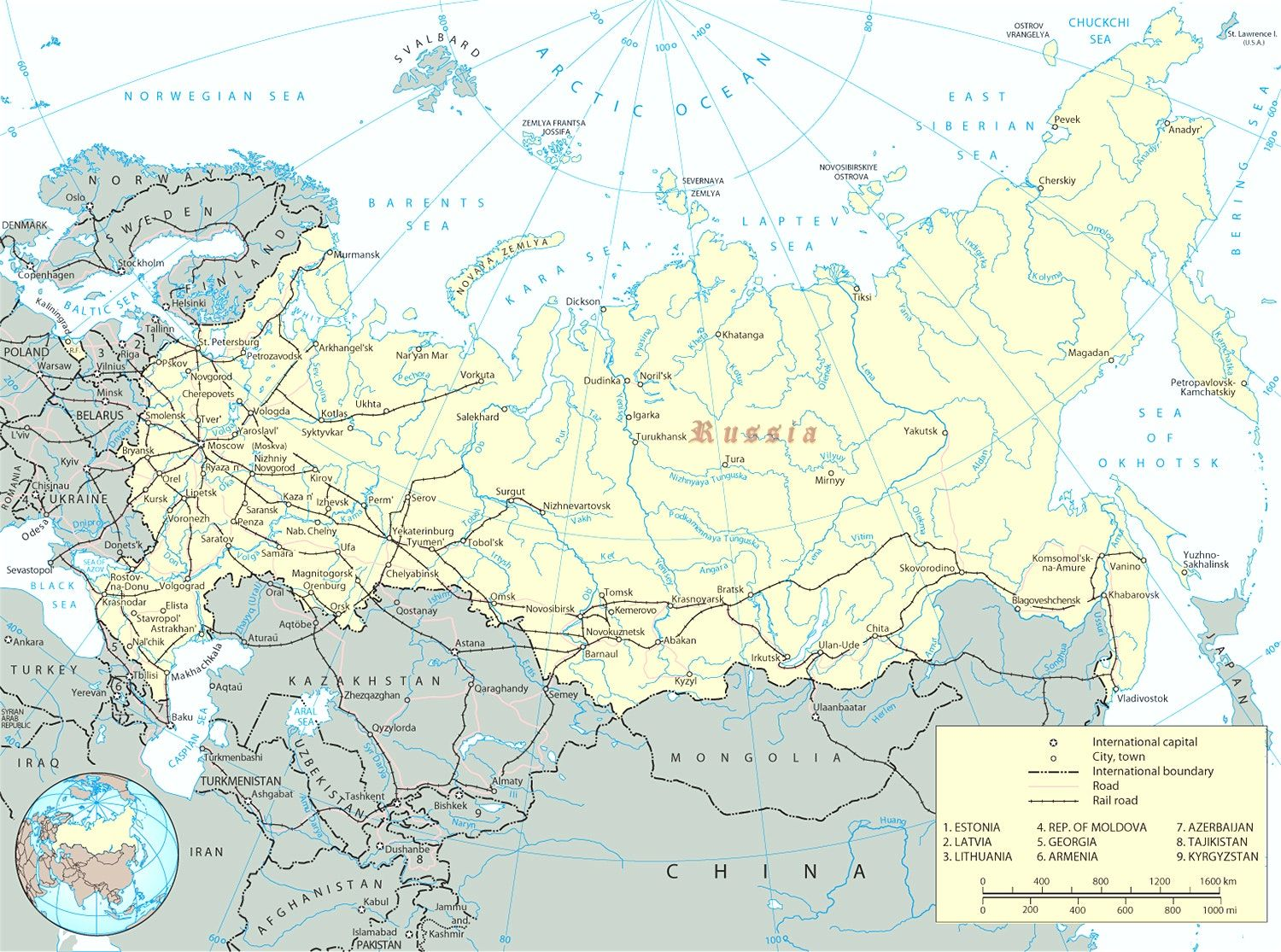 Russia Map Russian Federation Europe And Of With Cities Rivers In ...