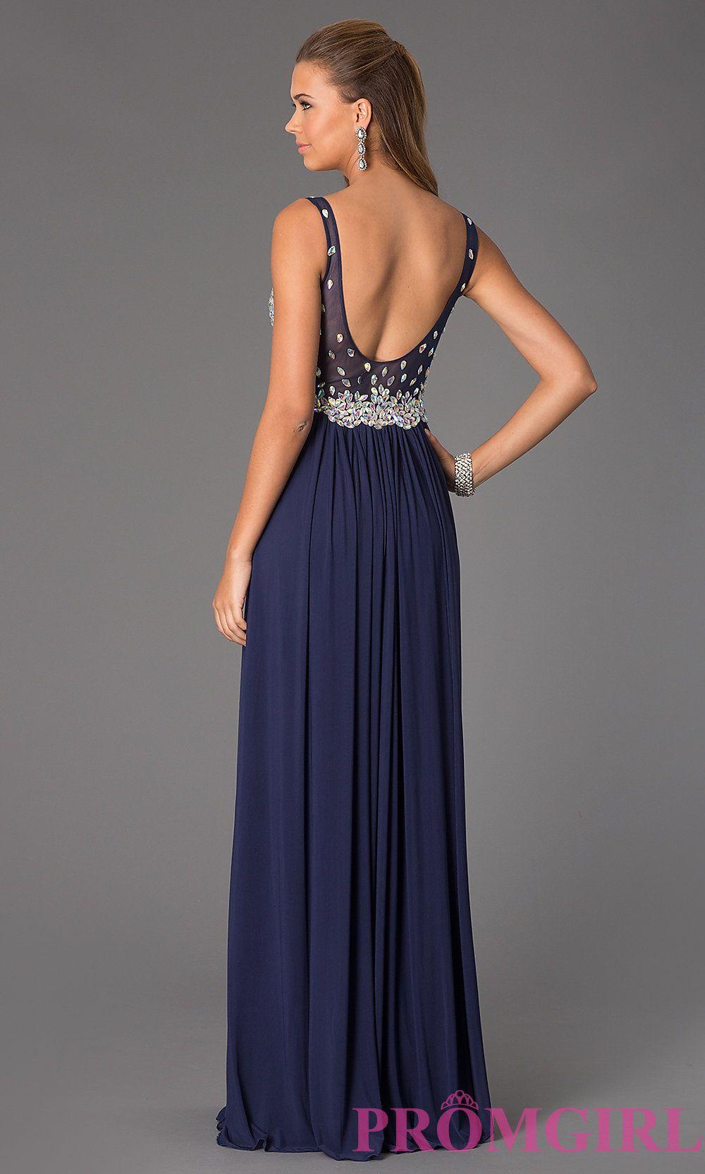 509278bd6fd8 Image of Long V-Neck JVN by Jovani Prom Dress Style: JO-JVN-JVN20381 Back  Image