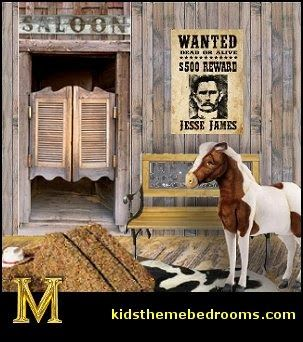cowboys Wild West Saloon wall decal mural stickers-western theme bedroom wall mural-copyright kids theme bedrooms maries manor