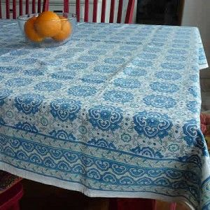 Cotton Tablecloths – Medallion Blue