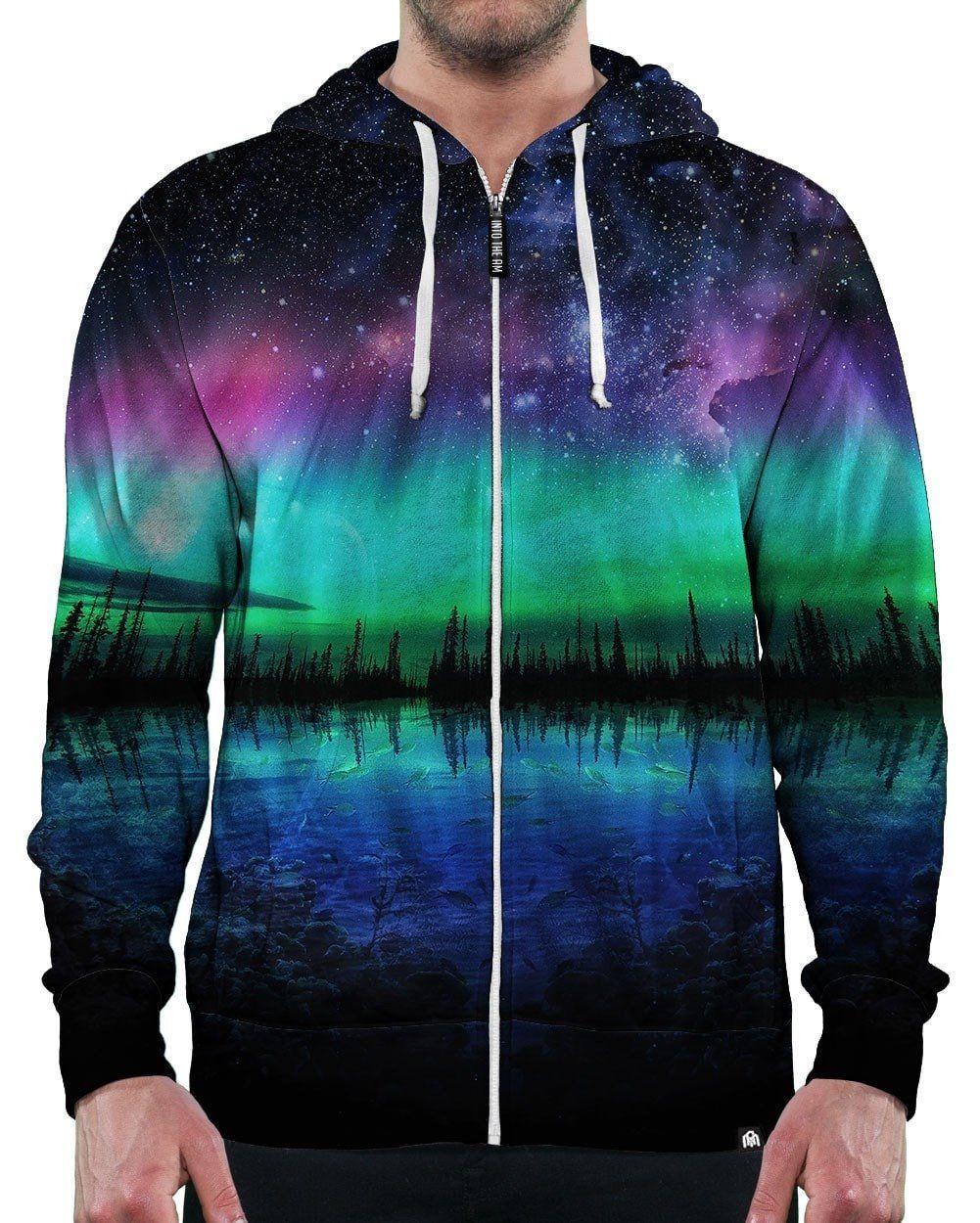 Yizzam Mens Hoodie Sweater Trippy Rainbow Spirals Allover Print