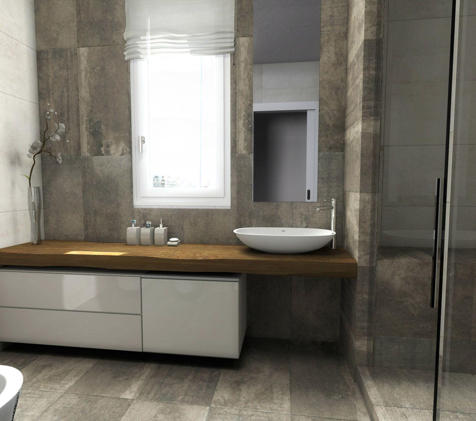 Due soluzioni bagno in pianta e in 3d progettate dal nostro architetto per il lettore giuseppe - Soluzioni per gradino in bagno ...