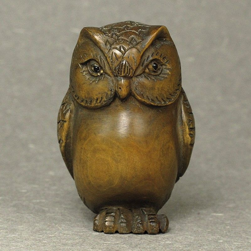 HANDWORK CARVING LOVELY CAT OLD BOXWOOD NETSUKE STATUE