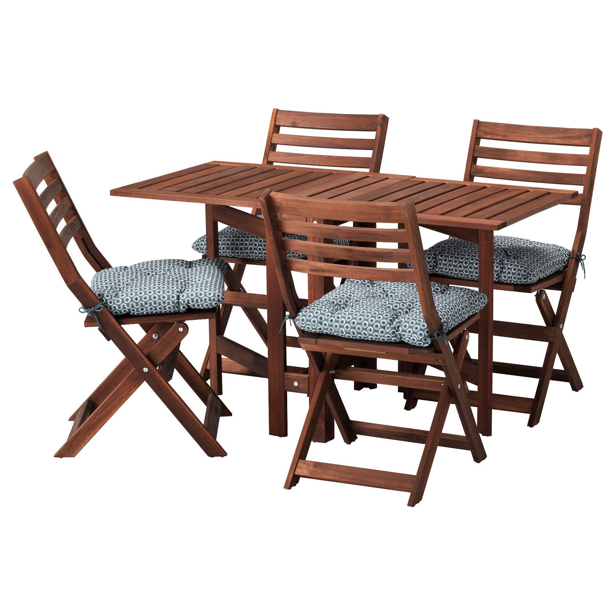 Applaro Tisch 4 Klappstuhle Aussen Braun Las Ytteron Blau