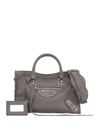 Met City Leather Shoulder Bag, Gray