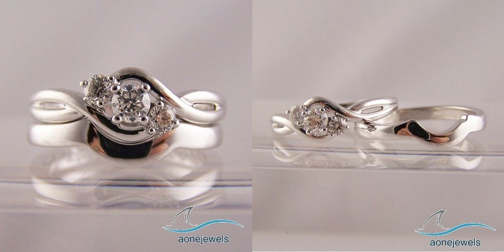 3 Stone Diamond Crossover Round Cut Engagement & Wedding  Bridal Ring Set…
