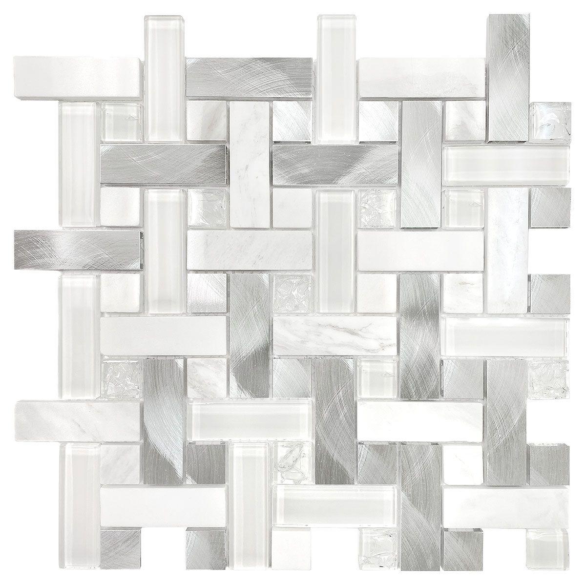 - Modern White Glass, Metal & Marble Backsplash Tile Backsplash