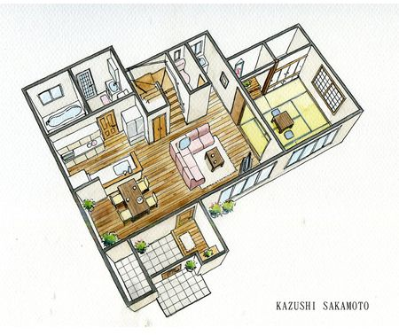 手描きパース承ります 建築パース 和風の家の設計 パース