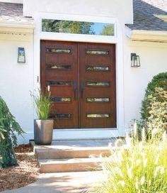 midcentury modern double doors front doors