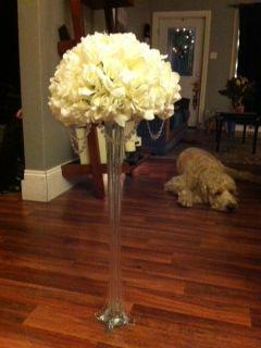 My Diy Pomanders Wedding Centerpieces Eiffel Tower Vases Ivory Purple Reception Receptions Silver White Image 5
