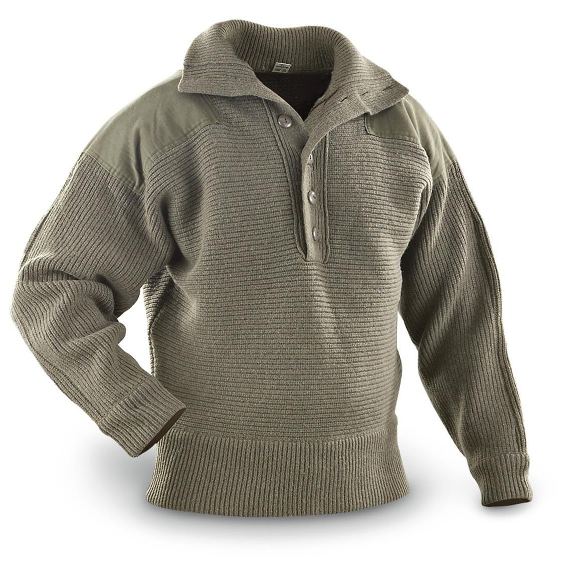 Used Austrian Surplus Heavy Duty Wool Sweater Olive Drab