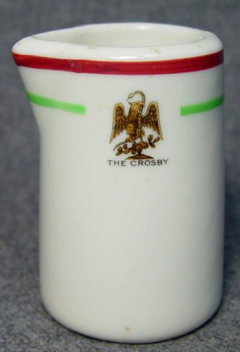 The Crosby Hotel Restaurant Adv Club Logo Individual China Creamer Eagle Snake