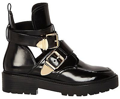 be8201ab704 River Island Patent Cut-Out Boots in black, $90 (Balenciaga Ceinture ...