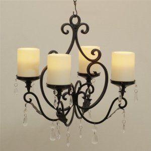 Amazon.com : Belvedere Convertible Chandelier with Flameless Pillar Candles : Patio, Lawn & Garden