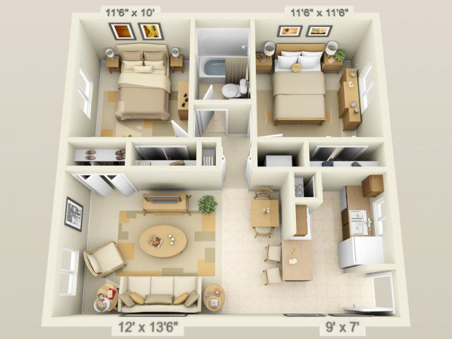 3d floor plan image 1 for the 2 bedroom 1 bath floor plan for Two bedroom apartment ideas