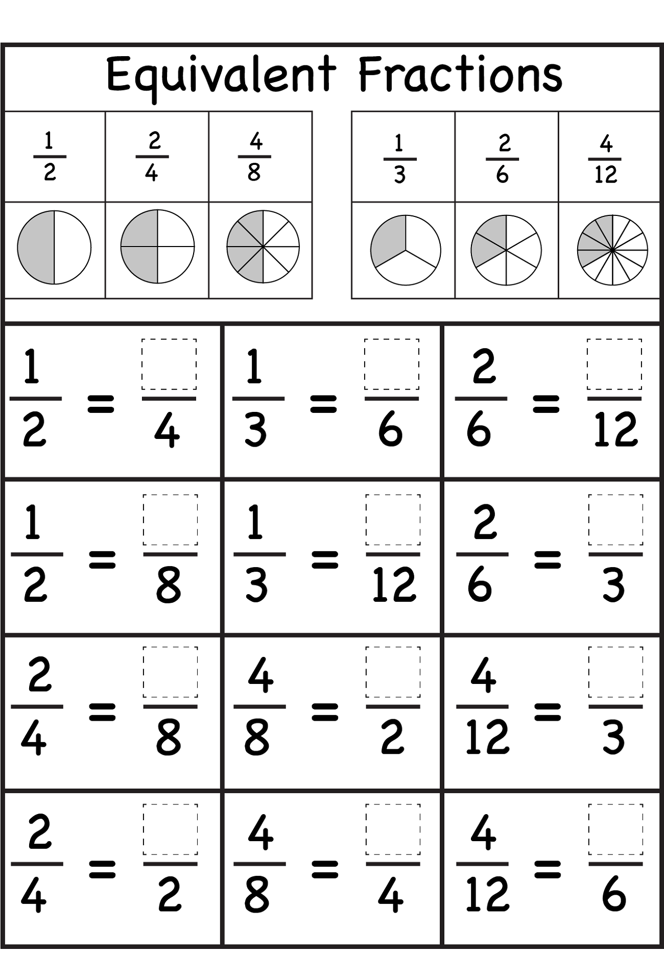 Math Fraction Worksheets For Kids