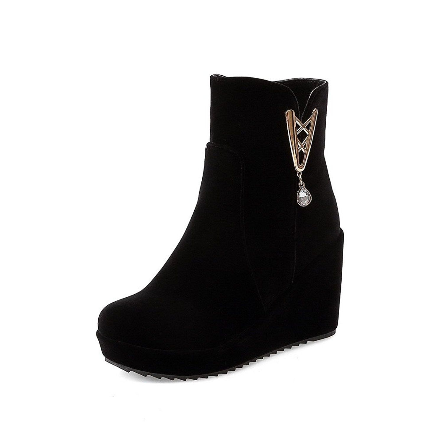 Women's Frosted Zipper Round Closed Toe High Heels Solid Boots