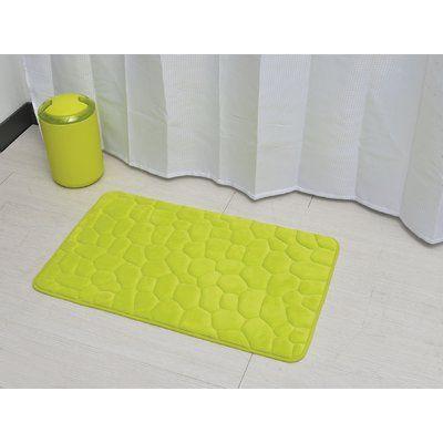 Evideco 3d Cobble Stone Shaped Memory Foam Bath Rug Color Lime