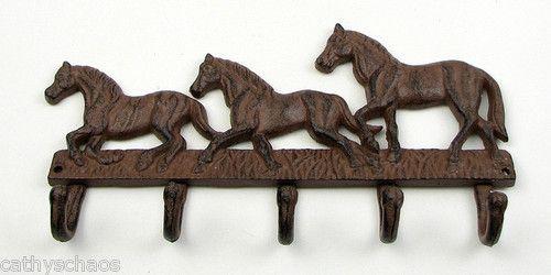 3 Cast Iron HORSE HEAD Coat Hooks Hat Hook Towel Rack Western Cowboy Decor