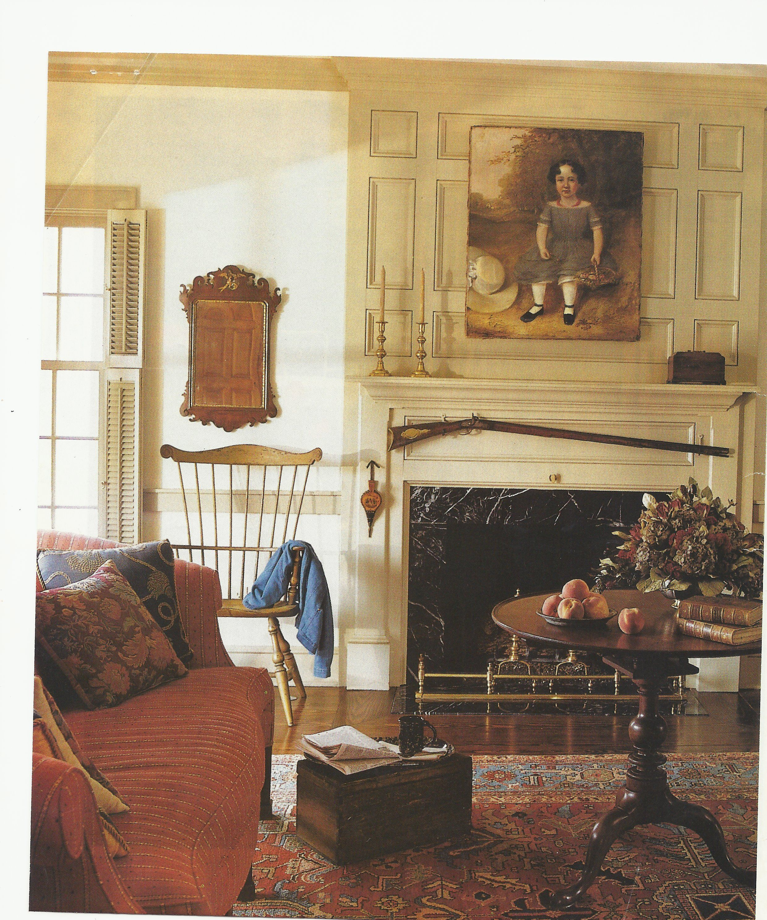 like the paneled wall above fireplace  colonial home