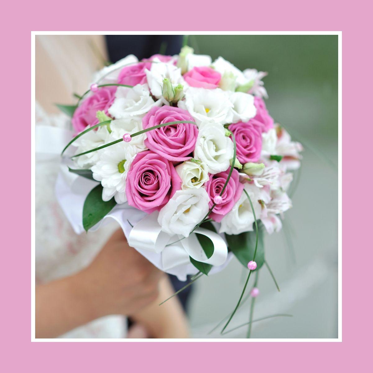 Brautstrau aus Rosen und Kamillen in Rosa  Wei  Russische Hochzeit in Deutschland  hochzeit