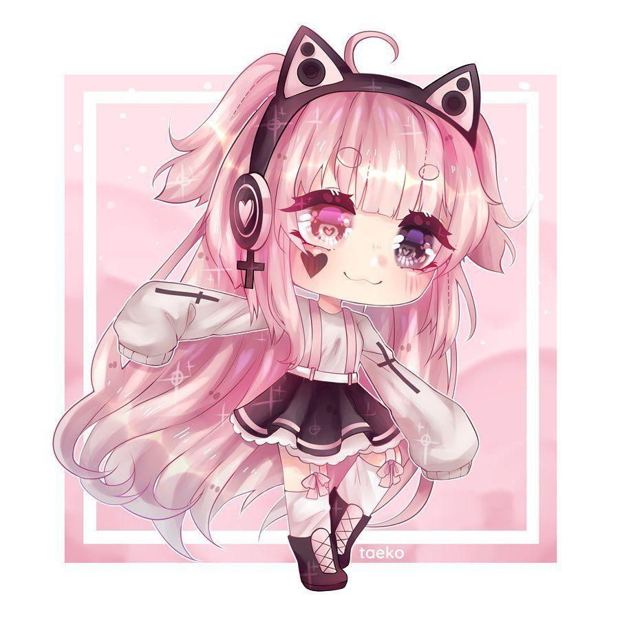 flower pink girl in 9  Cute anime chibi, Cute anime character