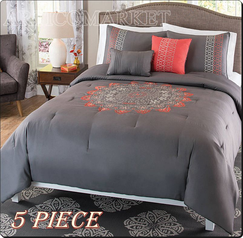 Comforter Set King Size Coral Gray Embroidered Flower Like Soft Plush Bedding Home Garden Bedding Com Bed Comforter Sets Comforter Sets Bed Linens Luxury