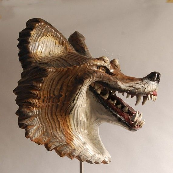Painted Wood Coyote