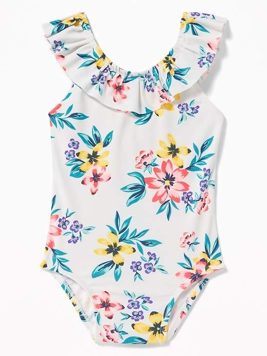 33aca2292ec Old Navy Printed Ruffle-Neck Bow-Back Swimsuit for Toddler Girls ...