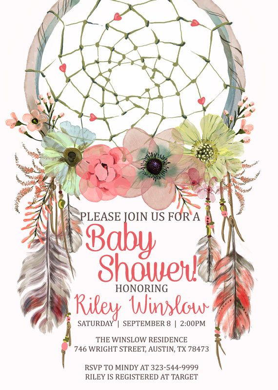 dreamcatcher baby shower invitation boho by